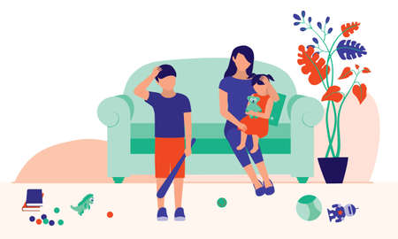 Mom Hugging And Cuddling Her Daughter. Parenting, Education And Social Issues Concept. Vector Flat Cartoon Illustration.