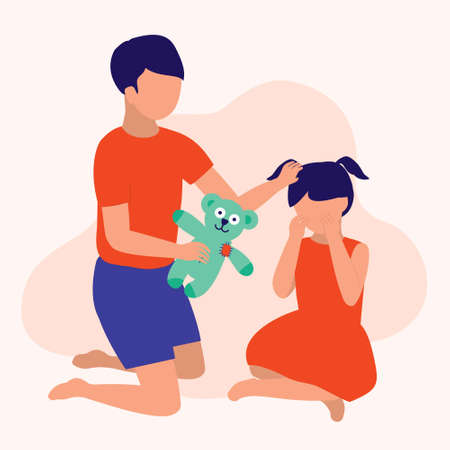 Sibling Reconcile. Parenting, Education And Social Issues Concept. Vector Flat Cartoon Illustration. 向量圖像