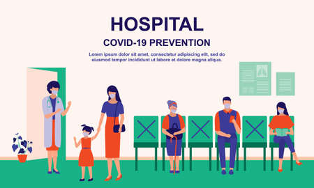 Patient Visiting Doctor At The Hospital While Maintaining Social Distancing. Healthcare, Covid-19 Social Distancing And Coronavirus Outbreak Prevention Concept. Vector Flat Cartoon Illustration.