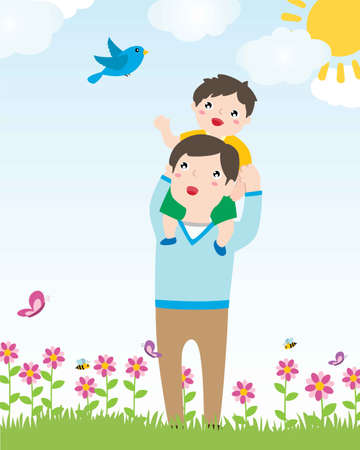 Happy Father Carries His Son Piggyback. Parenting And Happy Father's Day Concept. Vector Flat Cartoon Illustration.  イラスト・ベクター素材