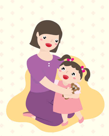 Happy Mother Hugging Her Daughter. Parenting And Happy Mother's Day Concept. Vector Flat Cartoon Illustration.