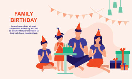 Family Celebrate Birthday Together At Home. Birthday And Family Moments Concept. Vector Flat Cartoon Illustration.