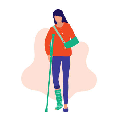 Woman Physical Injury. Medical & Accident Concept. Young woman with broken arm and leg. Vector Flat Cartoon Illustration. 向量圖像