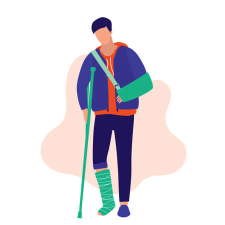 Man Physical Injury. Medical & Accident Concept. Young man with broken arm and leg. Vector Flat Cartoon Illustration.