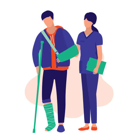 Nurse Helping A Injury Man To Walk. Medical & Accident Concept. Vector Illustration Flat Cartoon. Young Man With A Broken Arm And Leg. 向量圖像