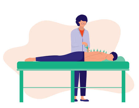 Cupping Therapy Woman. Alternative Medicine Concept. Vector Illustration Flat Cartoon. An Old Chinese Therapist Puts Special Cups On The Man's Skin To Create Suction For Cupping Therapy.