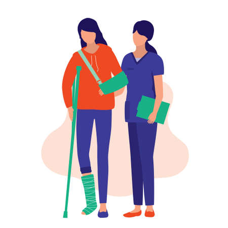 Nurse Helping A Injury Woman To Walk. Medical & Accident Concept. Vector Illustration Flat Cartoon. Young Woman With A Broken Arm And Leg.
