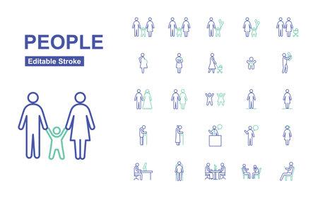 People Thin Line Icons. Editable Stroke. Vector Illustration Flat Design.