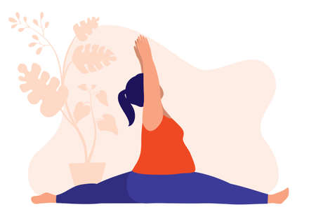 Fat Woman Doing Yoga. Fitness And Health Concept. Vector Illustration Flat Cartoon. Fat Woman Doing A Full Body Stretching.