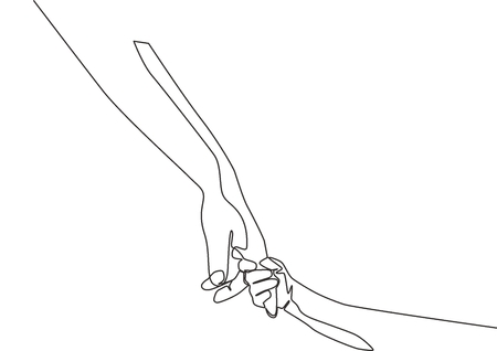 One line drawing of father giving hand to his child. Mother care in continuous line drawing design style. Parental concept vector illustration Illusztráció