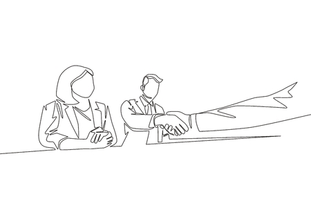 Single line drawing of business woman and businessman handshaking their business partner. Great teamwork. Business deal concept with continuous line draw style vector illustration