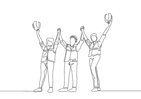 One line drawing of young architect woman and builder wearing construction vest fist their hands up the air to celebrate a project deal. Great teamwork concept - continuous line drawing Illusztráció