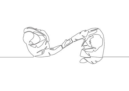 Top view single line drawing of businessmen handshaking his business partner. Great teamwork. Business deal concept with continuous line draw style vector illustration