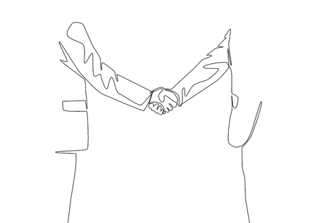 Single line drawing of businessmen in suite handshaking his business partner. Great teamwork. Business deal concept with continuous line draw style vector illustration Illusztráció