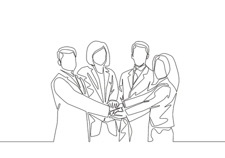 Single line drawing of businessmen and business women handshaking each other. Great teamwork commitment. Business deal concept with continuous line draw style vector illustration