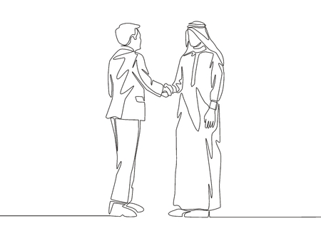 Single line drawing of businessmen handshaking his arabian business partner. Great teamwork. Business deal concept with continuous line draw style vector illustration