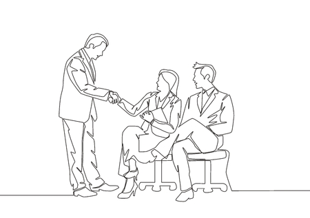 One line drawing of manager meet and handshaking employee candidate to take job interview continuous line drawing vector