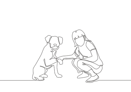 One line drawing of young happy girl handshaking her cute dog. Friendship with pet concept - continuous line drawing vector