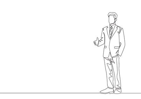 Single line drawing of businessmen gesture handshaking his business partner. Great teamwork. Business deal concept with continuous line draw style vector illustration Illusztráció