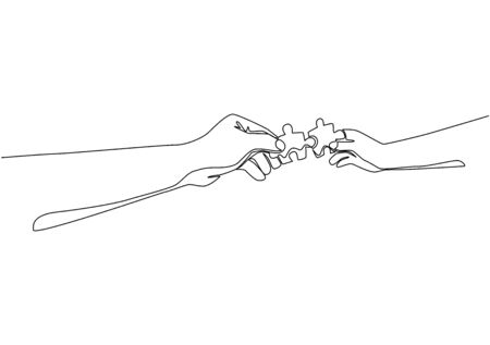 One line drawing of two hands holding puzzle pieces and want to merge together. Father or mother and son teamwork. Continuous line draw design, vector illustration 일러스트
