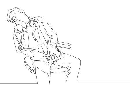 One single line drawing of young sleepy male worker fall asleep on work chair while he was working. Business fatigue at the office concept continuous line draw design vector illustration Ilustrace
