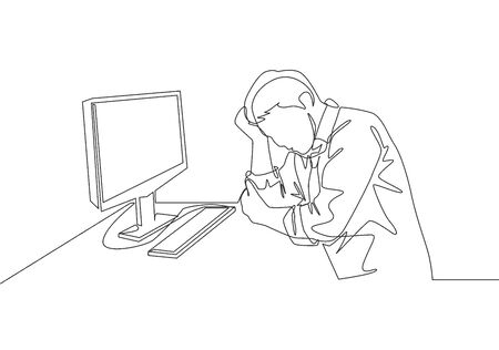 Single continuous line drawing of young tired businessman feel dizzy while he is working at office. Work fatigue after overload job concept one line draw design vector illustration