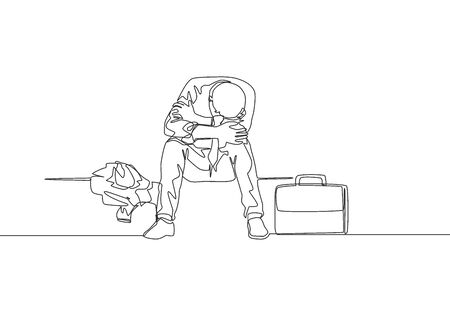 Single continuous line drawing of young depressed male manager bowed limply on chair after he got sacked from the work office. Job dismissal concept one line draw design vector illustration