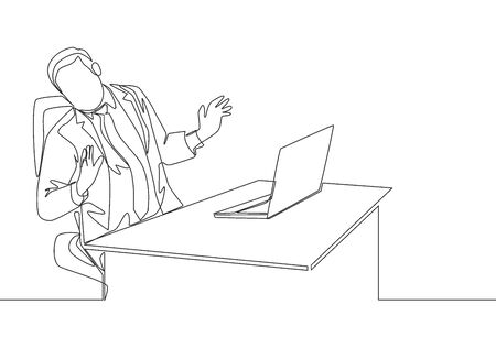 One single line drawing of young depressed manager trauma of the computer because his overload working at he office. Work traumatic life concept continuous line draw design vector illustration