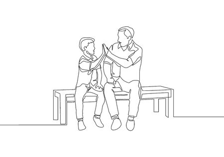 Single line drawing of young happy father sitting relax on wood bench next to his kid and giving high fives gesture. Parenting family concept. Continuous line draw design vector illustration 向量圖像