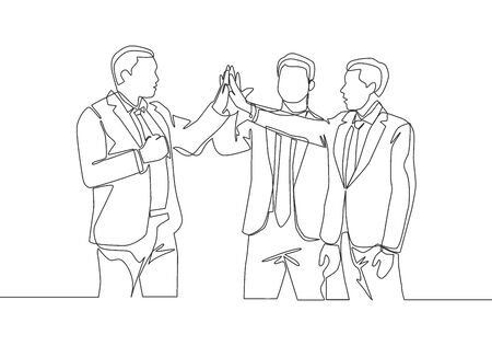 Single line drawing of young happy businessmen celebrate their successive business and giving high fives gesture. Business deal concept continuous line draw design vector illustration