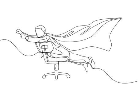 One line drawing of young happy business man spreading a wing and pretend as super hero who flying using an office chair. Business success concept. Continuous line draw design vector illustration