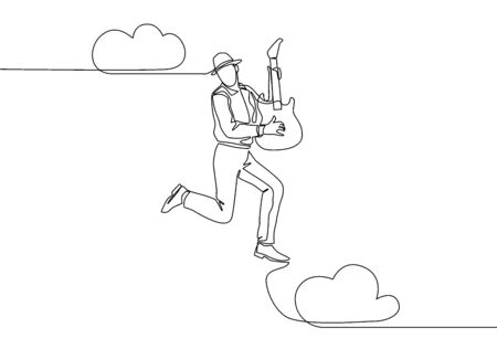 Single line drawing of young energetic guitarist jumping at stage and playing his electric guitar. Energetic musician artist performance concept. Continuous line draw design vector illustration