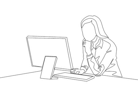 Single continuous line drawing of young female startup founder siting in front of computer thinking sales strategy to her company. Marketing strategy concept one line draw design vector illustration Illustration