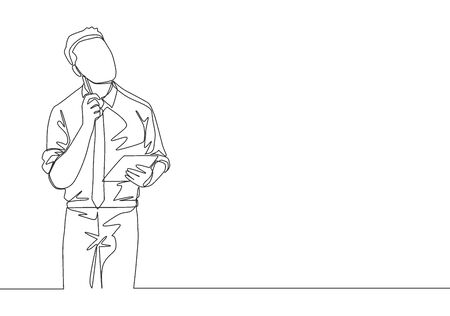 Single continuous line drawing of young manager looking up to the sky and thinking business strategy at the office. Business planning concept one line draw design vector illustration