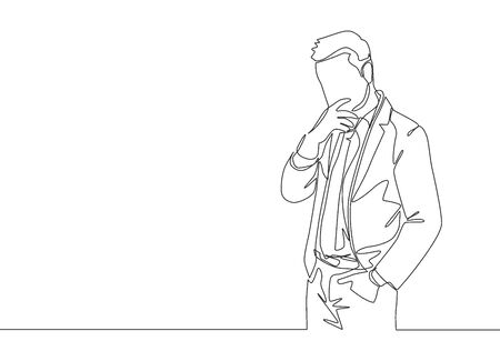One single line drawing of young manager focus thinking about his career continuity in the company after promotion. Successful career path concept continuous line draw design vector illustration