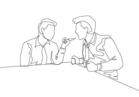 One single line drawing of young angry businessman pointing finger to his shouting colleague then they blaming each others. Business problem concept continuous line draw design vector illustration