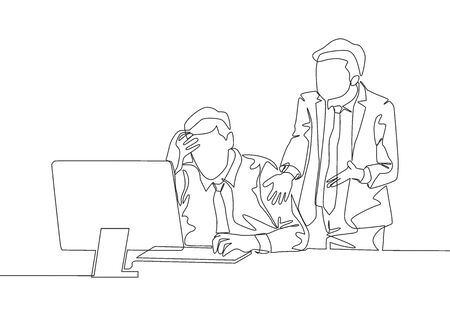 One continuous line drawing of young angry manager asking his depressed staff for an unfinished job. Work pressure at he office concept single line draw design vector illustration