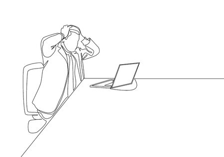 One single line drawing of young despair businessman holding his head because he must bear the company's debt. Business risk life concept continuous line draw design vector illustration
