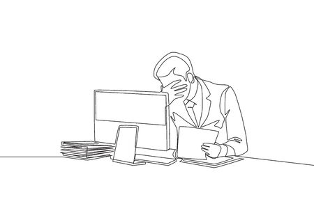 One single line drawing of young despair manager sitting in front of computer doing overtime to finish his overload project. Work pressure concept continuous line draw design vector illustration