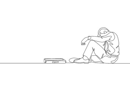 One single line drawing of young depressed sales manager sitting on the floor and bowed limply after he get sacked. Job dismissal concept continuous line draw design vector illustration