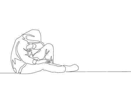 One continuous line drawing of young sad male teen sitting on the floor wearing hoodie in the city street. Stressful depressed life concept. Single line draw design vector illustration