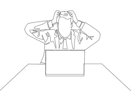 One continuous line drawing of young stressful worker holding his head while he was working in front of laptop at the office. Work pressure concept. Single line draw design vector illustration Çizim