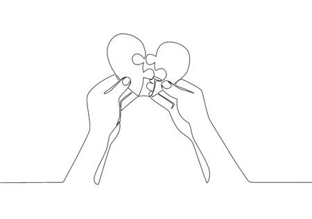 Single continuous line drawing of cute young happy man put the puzzle pieces together to heart shape form. Romantic love marriage concept one line draw design vector illustration Ilustração