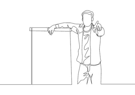 One continuous line drawing of young presenter pointing finger on audience who want to ask while doing presentation. Workshop presentation concept single line draw design vector illustration