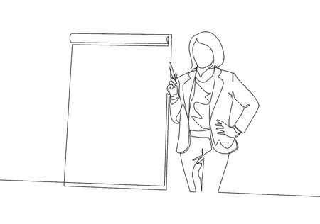 One single line drawing of young female presenter pointing the finger to the attendees who want to ask. Business presentation at the office concept continuous line draw design vector illustration