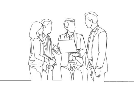 One continuous line drawing of young male manager persuade little chat with some workers while holding a laptop at office. Business presentation single line draw design vector illustration Ilustração