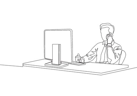 One continuous line drawing of young startup founder watch company growth report on computer screen while receiving phone from investor. Business accountability concept single line draw vector design
