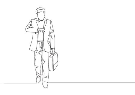 One single line drawing of young male manager walking in hurry while looking at his watch try not be late for work. Urban commuter worker concept continuous line draw design vector illustration Vectores