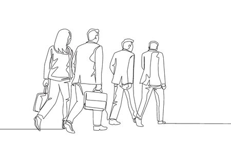 One single line drawing of young male and female employees walking together rushed so as not to be late for work. Urban commuter workers concept continuous line draw design vector illustration