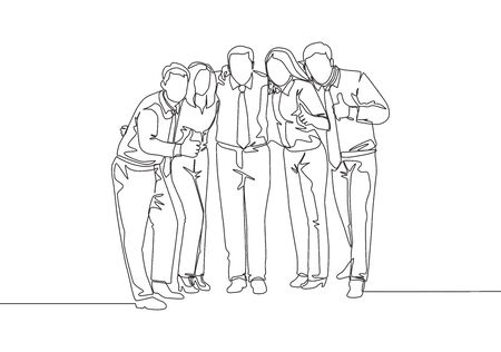 Single continuous line drawing of young male and female employees from multi ethnic standing together celebrating their success. Unity in diversity concept one line draw design vector illustration